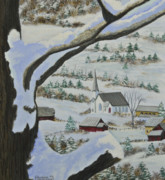 New England Snow Scene Painting Posters - East Orange Vermont Poster by Charlotte Blanchard