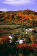 Vermont Towns Prints - East Orange Village In Fall, Vermont Print by Bilderbuch