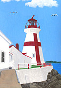New England Lighthouse Paintings - East Quaddy Head Lighthouse Painting by Frederic Kohli