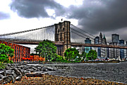Brooklyn Bridge Posters - East River Beach in Brooklyn Bridge Park Poster by Randy Aveille