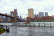 Nyc Digital Art Metal Prints - East River Sketch Metal Print by Randy Aveille