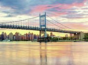 East River Framed Prints - East River Sunset Over Triboro Bridge Framed Print by Tony Shi Photography