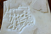 Chinese Sculpture Posters - East to West relief on marble  Poster by Debbi Chan