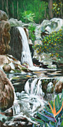 Waterfalls Paintings - East West Garden Waterfalls by Larry Geyrozaga