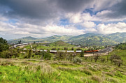 Beautiful Clouds Posters - Eastbound Train At the Tehachapi Loop Poster by Connie Cooper-Edwards