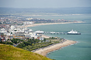 Landscapes Jewelry Prints - Eastbourne from Beachy Head Sussex UK Print by Donald Davis