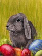 Grey Pastels Prints - Easter Bunny Print by Anastasiya Malakhova