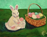 Hanging Baskets Paintings - Easter Bunny and His Baskets by Allan Lister