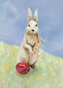 Eastern Europe Digital Art - Easter Bunny with a Painted Egg by Louise Heusinkveld