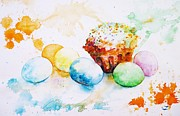 Easter Eggs Paintings - Easter Colors by Zaira Dzhaubaeva