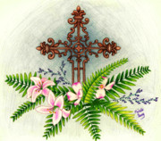 Easter Flowers Drawings Posters - Easter Cross Poster by Michelle Young