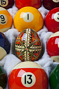 Round Shell Photo Prints - Easter Egg Among Pool Balls Print by Garry Gay