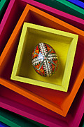 Hand Painted Framed Prints - Easter Egg In Box Framed Print by Garry Gay