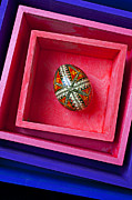 Hand Painted Framed Prints - Easter egg in pink box Framed Print by Garry Gay