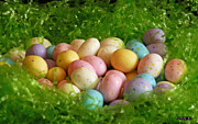 Easter Eggs Prints - Easter Egg Nest Print by Methune Hively