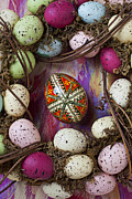 Hand Painted Framed Prints - Easter egg with wreath Framed Print by Garry Gay