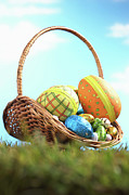 Shell Pattern Framed Prints - Easter Eggs In Basket On Grass, Ground View Framed Print by Martin Poole