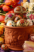 Easter Eggs Prints - Easter eggs in flower pot Print by Garry Gay