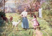 Goat Paintings - Easter Eggs in the Country by Victor Gabriel Gilbert