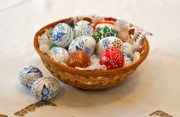 Handcrafted Prints - Easter Eggs Print by Louise Heusinkveld