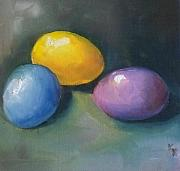 Kristine Kainer Paintings - Easter Eggs No. 1 by Kristine Kainer