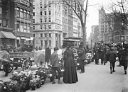 Horse And Buggy Framed Prints - Easter Flower Vendors in New York City Framed Print by Padre Art