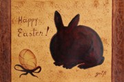 Coffee Paintings - Easter Golden Egg and Chocolate Bunny by Georgeta  Blanaru