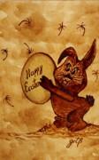 Easter Golden Egg For You Print by Georgeta  Blanaru