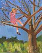 Tom Boy Paintings - Easter in the Apple Tree by Betty Pieper