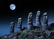 Moon Smiling Posters - Easter Island Heads, One Smiling At Night Poster by Don Farrall