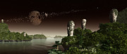 Moai Digital Art - Easter Island Like Heads On An Alien by Frieso Hoevelkamp