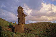 Moai Prints - Easter Island Statues at sunset Print by Cliff Wassmann