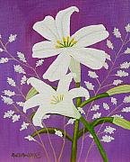 Ruth Housley Metal Prints - Easter Lilies and Baby Breath  SOLD Metal Print by Ruth  Housley