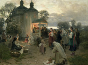 Religious Paintings - Easter Matins by Nikolai Pimonenko