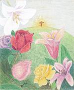 Easter Flowers Drawings Posters - Easter Morning Poster by Dawn Marie Black