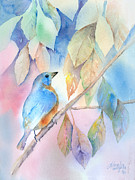 Bluebird Painting Metal Prints - Eastern Bluebird Metal Print by Arline Wagner