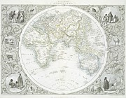 Planet Map Drawings Prints - Eastern Hemisphere Print by John Rapkin