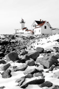Snow. Ocean Prints - Eastern Point Light Print by Greg Fortier