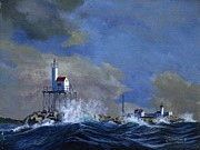 Tall Ships. Marine Art Paintings - Eastern Point Light House by Phil Cusumano
