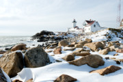 Snow. Ocean Prints - Eastern Point Light II Print by Greg Fortier