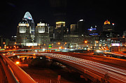 Night Scenes Photo Originals - Eastern side of downtown Cincinnati by Michael Austin
