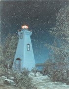 Five Canvas Paintings - Eastern Sky Lighthouse by Michael Marcotte