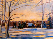 Montreal Winter Scenes Prints - Eastern Townships In Winter Print by Carole Spandau