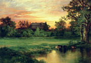 Setting Sun Paintings - Easthampton by Thomas Moran