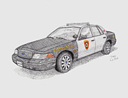 Maryland Drawings Posters - Easton Maryland Police Car Poster by Calvert Koerber
