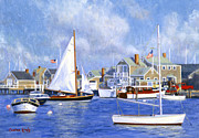Boats In Harbor Posters - Easy Street Basin Blues Poster by Candace Lovely