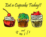 Candy Digital Art Prints - Eat A CupCake Today . And Smile Print by Wingsdomain Art and Photography