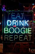 Eat Prints - EAT DRINK BOOGIE REPEAT Beale Street Memphis Tennessee Print by Wayne Higgs