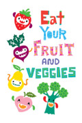 Andi Bird Digital Art Framed Prints - Eat Your Fruit and Veggies Framed Print by Andi Bird