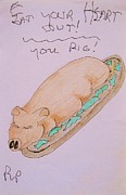 Pig Prints Drawings - Eat Your Heart Out You Pig by Roberto Prusso